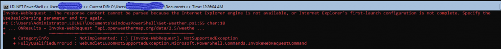 Error that IE First Run has not been completed